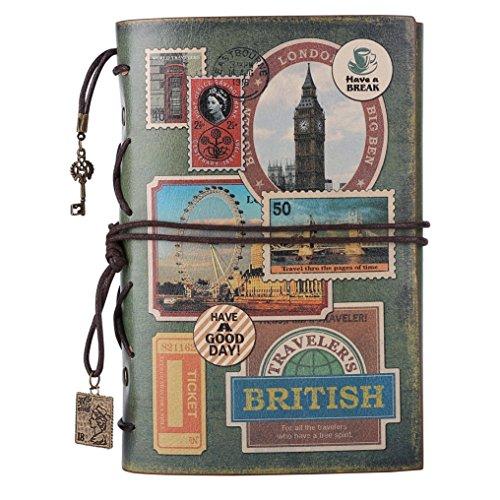 Taccuino agenda in pelle, MALEDEN vintage Traveler notebook, classica, ricaricabile, agenda, diario, album per schizzi, per ragazze e ragazzi con copertina rigida e tasca con zip Stamps