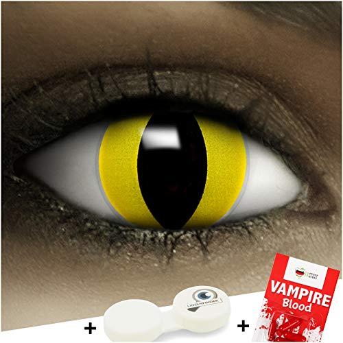Farbige gelbe Kontaktlinsen Katze + Kunstblut Kapseln + Behälter von FXCONTACTS®, weich, ohne Stärke als 2er Pack - perfekt zu Halloween, Karneval, Fasching oder Fasnacht