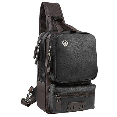 Tecquark Herren Vintage Umhängetasche Messenger Schultaschen PU-Leder Retro Tasche für Reisetasche Sport Reisetaschen Militär Lässige Reisetasche Strandtasche Schultertasche