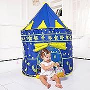 Simpatica tenda gioco per bambini con ambientazione Castello . Riempibile a piacere con le palline Multicolore . Con porta e una simpatica finestra. La porta si può tenere aperta, arrotolando la tendina anteriore e fissandola con l'apposita b...