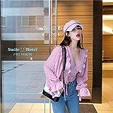 YIYUEIm Herbst Shirt Weiblichen Gurt Bubble-Tasche V-Ausschnitt Große Schnee Gewebte Hemden Tau Nabelschnur Short-Video Dünnen T-Shirt, Rosa T-Shirt