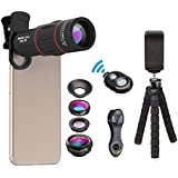 APEXEL Camera Lens Kit,18x Monocular Telescope with Eyecup,0.63x Wide lens&15x Macro Lens,198°Fisheye Lens,Flexible Camera Tripod with Remote Shutter for iPhone Samsung and huawei and most Smartphone