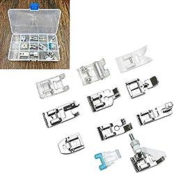 11pièces machine à coudre domestique Ensemble d'accessoires avec boîte de rangement, kit de remplacement de biche pour machine à coudre Singer Brother Janome Toyota Elna AEG