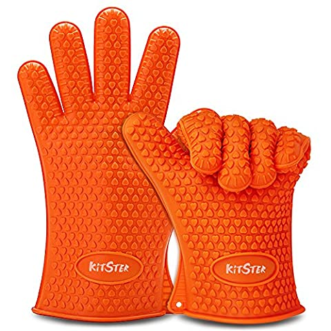 Silicone BBQ Grilling Gloves, Most Versatile Heat Resistant Durable Oven Mitts & Hot Pads - Cooking & Baking Non-Slip Waterproof Potholders – Full Finger Hand Wrist Protection – Orange