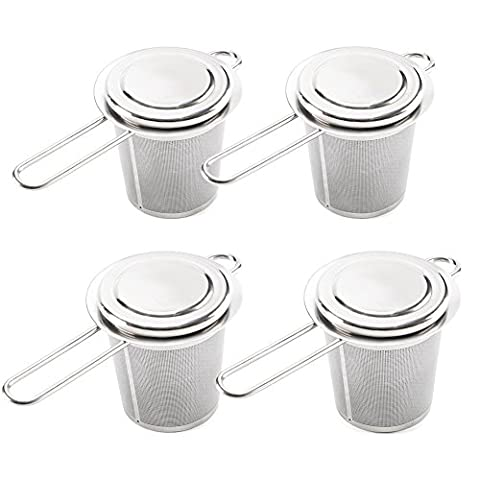 Tea Infuser, EZOWare Set of 4 Stainless Steel Filter Strainer w/ Lid Cup Plate Coaster for Teapot Loose Leaf Mugs Pots