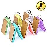 WXJ13 300 Pièces Multicolores Study Cartes Papier Kraft Cartes, MemO Rayures bloc-notes avec Bague à Anneaux en Métal, 6 Sets