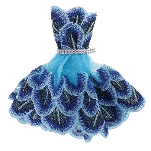 Sharplace Fashion Eelegante Vestido de Pavo Real de Bordado para Barbie Muñeca Adorno Ornamento de Coche Interior
