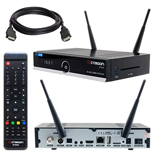 HB-DIGITAL Set: Octagon SF8008 HD Receiver: Fernsehempfang über Kabel DVB-C, Satellit DVB-S/S2X, Antenne DVB-T2, Internet IPTV - Quad Core CPU, 8GB ROM, 1GB RAM, HDMI2.0a, USB 3.0, WLAN + HDMI Kabel