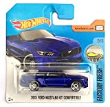 Mattel Hot Wheels - Sortiment 1:64 (2015 Ford Mustang GT Cabrio blau (Factory Fresh 2/10))