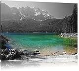 Eibsee vor der Zugspitze schwarz/weiß Format: 120x80 auf Leinwand, XXL riesige Bilder fertig gerahmt mit Keilrahmen, Kunstdruck auf Wandbild mit Rahmen, günstiger als Gemälde oder Ölbild, kein Poster oder Plakat