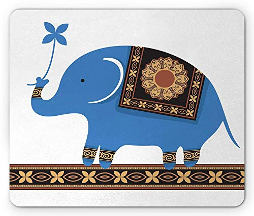 ASKSSD Cartoon Mouse Pad, Cute Circus Elephant Ethnic Flower Medallions Ornament Cartoon Illustration, Standard Size Rectangle Non-Slip Rubber Mousepad, Blue Sand Brown - Circus Tiere Drucken