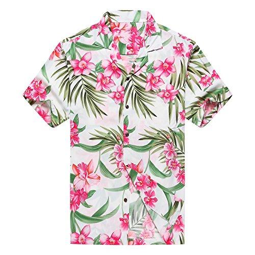 Hecho-en-Hawaii-Camisa-hawaiana-de-los-hombres-Camisa-hawaiana-L-Rosa-floral-con-hoja-verde-en-blanco