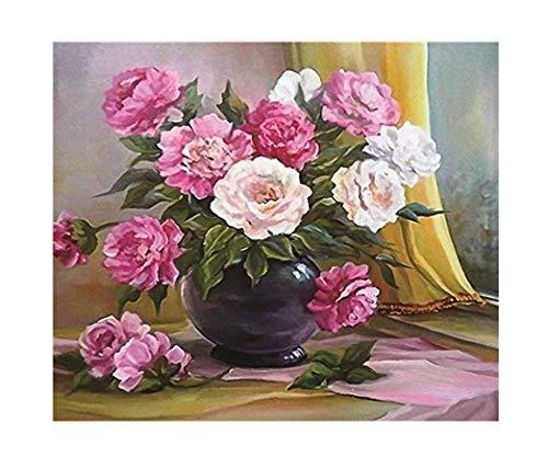 GMMH Diamond Painting Set Image 40 x 50 Diamant Peinture Broderie à la Main Bricolage mosaïque Panier à Fleurs pivoines