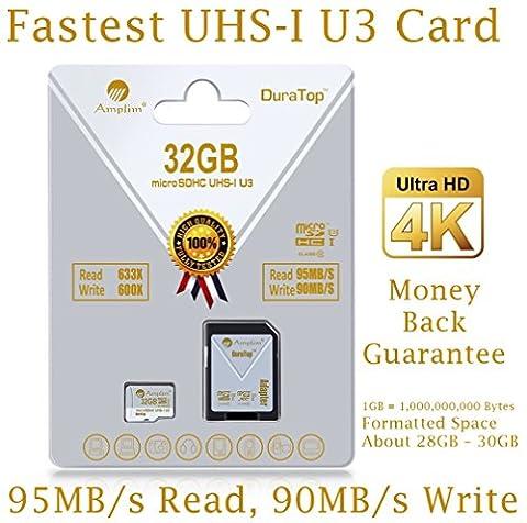 32GB Micro SDHC U3 Card Plus SD Adapter Pack. Amplim Extreme Pro Class 10 UHS-I MicroSDHC 95MB/s Read, 90MB/s Write. Ultra High Speed HD UHD 4K Video. Internal/External MicroSD Flash Memory Storage