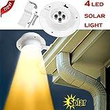 LED Solar Gartenleuchte HARRYSTORE 4 LED Solarbetriebene Dachrinnenleuchte Outdoor/Garten/Hof/Wand/Zaun/Wegeleuchte (Warmes Weiß)
