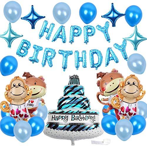 JOYMEMO AFFE Geburtstag Dekorationen blau Geburtstag Dekorationen Pack für Jungen mit Happy Birthday Ballon Banner freche Affen, Kuchen Helium Ballons