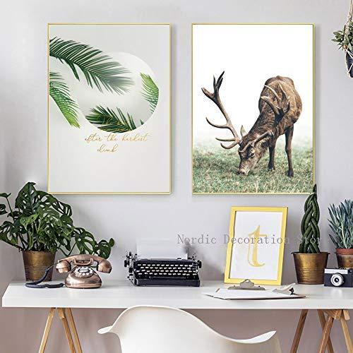 adgkitb canvas Nordic Fawn Animal Green Leaf s Gold Letter Wall Art Stampa su Tela Immagini per pareti 58x90cmx2 No Co