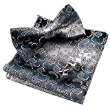Alizeal Men Gradient Mini Paisley Bow Tie+Hanky+Cufflink Set, Gray