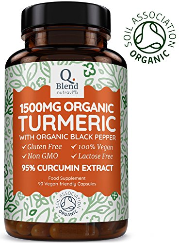 Organic Turmeric with 95% Curcumin 1500mg | CONTAINS 95% CURCUMIN | NON-GMO & NO EXCIPIENTS Like Magnesium Stearate + Silicon Dioxide | 500mg Per Capsule & 1500mg Per Serving (3 Capsules Per Day) | Soil Association Certified Organic & Made in the U.K Test