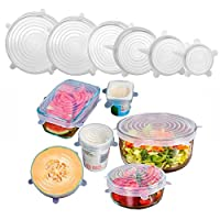 Silicone Stretch Lids, Scoolr 6-Pack of Various Sizes Reuseable Food Storage Covers for Bowl, Can, Jar, Glassware, Food Saver Covers Safe in Dishwasher, Microwave and Freezer (White)