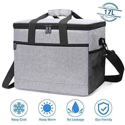 NASUM Kühltasche 17L, Picknicktasche Kühlbox Lunch Tasche, isolierte für Lebensmitteltransport, für Büro Arbeit Outdoor Camping Reisen, Eistasche klappbar faltbar groß, 31.5 * 19 * 28cm