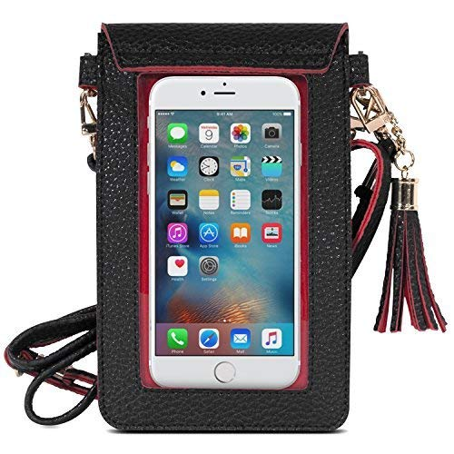 MoKo Cell Phone Bag, PU Leather Crossbody Bag Mini Phone Pouch with Shoulder Strap Fit with iPhone Xs/Xs Max/XR/X, Galaxy S10e/S10/S10 PLUS, Huawei P30/P30 Pro,Google Pixel 3a/3a XL - Black+Red