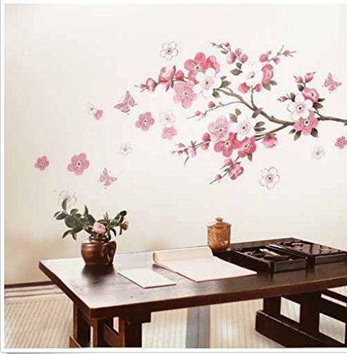 Wandtattoo Sticker, Schmetterlinge, Kirschblüten (Kirschblüten Wandtattoo)