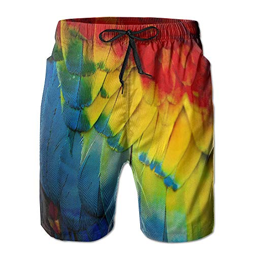 Mens Parrot Animal Feather Tie Dye Volley Pants Beach Shorts Trunks Large - Full Cut Boxer Shorts