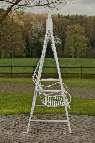CLP 2 Sitzer / 3 Sitzer Garten Hollywoodschaukel AIMEE, Landhaus-Stil, Metall (Eisen) antik-weiß - 3
