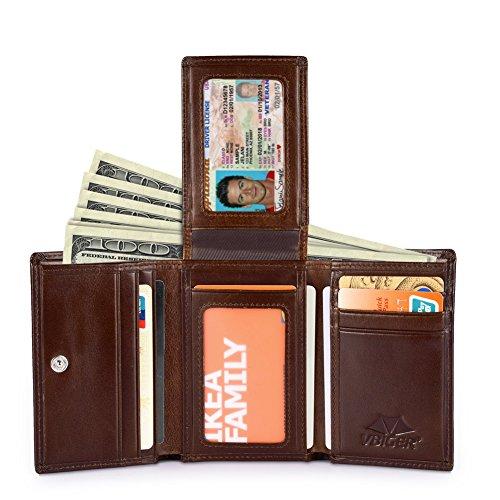 Vbiger Leder Geldbörse RFID Schutz Kreditkarten Leder Bifold Portemonnaie für Herren Leder Geldbeutel Männer Börse Portmonee (Bi-fold Herren-geldbörse)