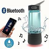 aoku 3 in 1 Trinkflasche mit Trinkhalm & Bluetooth Outdoor Lautsprecher & Safety Light | PBA Gratis Wasser Flasche | Funk IPX7 Wasserdicht Wiederaufladbare