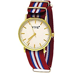 33. Pure Time Unisex Textile Clock, Red, White, Gold, Extremely Flat with Watch Box