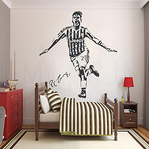 Ajcwhml Grande Paulo Dybala Juventus Argentina Calcio Stickers Murali Calcio Adesivo Boy Girl Room Wall Sticker per Camera dei Bambini Poster 58cx69cm