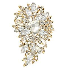 Idea Regalo - Spilla Gioiello,TENYE Marquise Cristallo austriaco Sposa mazzo di fiori e foglie Spilla Trasparente Oro-fondo