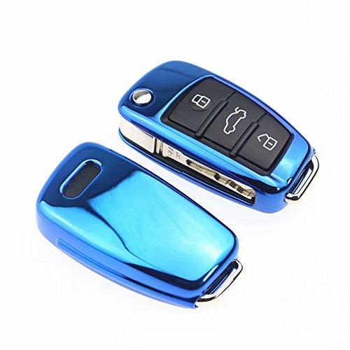 Lucido diamante blu 3 pulsante cover chiave Audi A1 S1 A3 S3 RS3 A4 S4 RS4 A6 S6 RS6 Q2 Q3 Q5 Q7 TT TTs R8 Flip Case