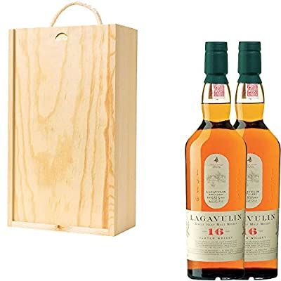 2 x Lagavulin 16 Year Old Single Malt Scotch Whisky in Pine Wood Gift Box With Handcrafted Gifts2Drink Tag