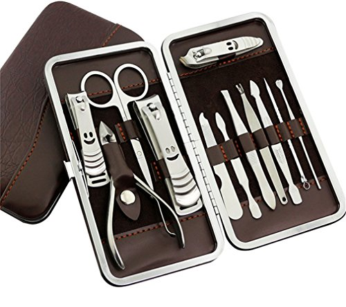 JasCherry 12 pcs Chiodo Cura Personali Manicure Pedicure Set, Viaggio Grooming Kit Strumento Set Con Custodia