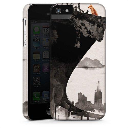 Apple iPhone 5 Housse étui coque protection Horizon Ville Art CasStandup blanc