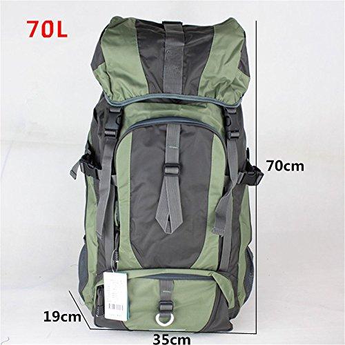 Zaino di outdoor zaino borsa a tracolla alpinismo grande capacità zaino escursionismo zaino da viaggio panno Oxford impermeabile (60L), Orange (80L) Green (70L)