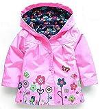 QZBAOSHU 2-6 Anni Bambino Giacca Impermeabile con Cappuccio Outwear Pioggia Cappotto delle Bambine e Ragazze (100: misura per altezza 95-100 cm, Rosa)