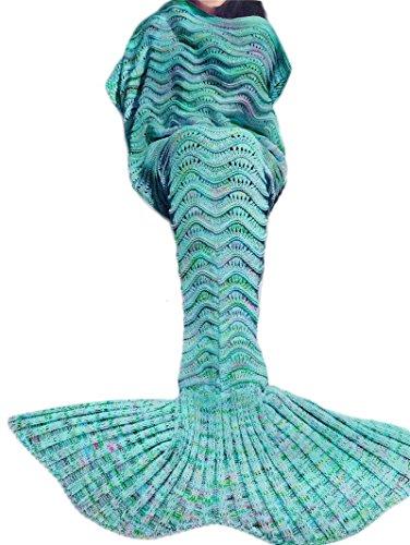 Preisvergleich Produktbild Knitting Girl Ladies Costume Mermaid Fish Tail Tail Handmade Blanket Crochet Adults Sleeping Bag Blanket Length 180-190cm, width 90cm Green (Grün)