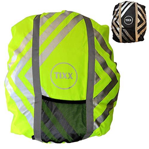 TIXX – hochwertiges Regencover für Schulranzen Regenschutz inkl. Sicherheitslicht I wasserfest und reflektierend I Rucksackcover Regenhülle Nässeschutz
