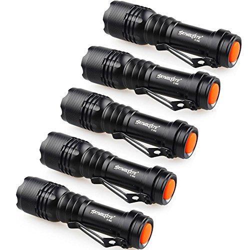 Preisvergleich Produktbild happytop Taschenlampe, 3Modi Zoomable LED Taschenlampe Q5AA/14500Schlüsselanhänger Mini Taschenlampe (5Pack)