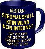 Original RAHMENLOS® Kaffeebecher für den aktiven Nerd: Stromausfall, kein WLAN, kein Internet…. - Im Geschenkkarton 2629