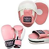 MAXSTRENGTH Damen Pink Curved Fokus Pads und Handschuhe 8oz, 10oz, 12oz Boxsack Mitts Muay Thai UFC MMA Damen Kickboxen Damen Sparring eqipments Gym Fitness (14oz)