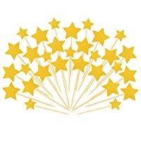 Outus 36 Pieces Cake Toppers Cupcake Star Topper Star Cake Decor for Birthday Wedding Ceremony, Gold