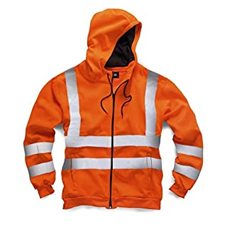 Exact Colour: ORANGE | Chest Size: 2XL XXL | Use: High vis construction traffic thermal warm hoodie