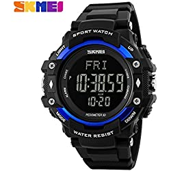 Multifunction Climbing Dive LCD men's Wristwatch digital Sport Watches 50M Waterproof Men Digital Watches(Blue)