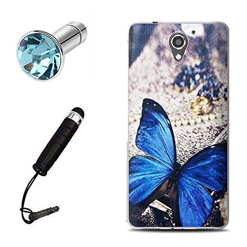 Lusee® Silikon TPU Hülle für ZTE Blade A510 Schutzhülle Case Cover Protektiv Silicone blauer Schmetterling
