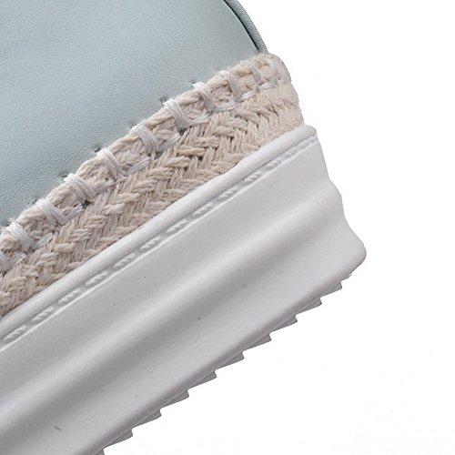 AllhqFashion Femme Pu Cuir Couleur Unie Lacet Rond à Talon Correct Chaussures Légeres Bleu